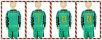 barcelona youth soccer - Youth Kids soccer Jersey Barcelona TER STEGEN Cillesse Goalkeeper Long Sleeve Uniforms Kit Light Green Jerseys
