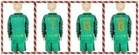 barcelona long sleeve - Youth Kids soccer Jersey Barcelona TER STEGEN Cillesse Goalkeeper Long Sleeve Uniforms Kit Light Green Jerseys
