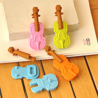 Wholesale New Fashion Students violin Shaped Eraser Rubber Stationery Kid Gift Toy Cute Pupils Supplies Correction Supplies school supplies