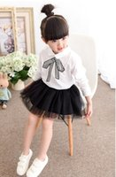 Wholesale New Spring Summer Fashion Girl Blouses Batwing Sleeve Solid Korea Style Big Bow Girl Top Kids Blouses Shirt
