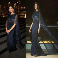 arabic shawl style - 2016 Sexy Black Mermaid Arabic Dubai Evening Dresses Long With Shawl Beaded Arab Style Prom Party Gowns Plus Size Floor Length