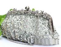 antique beaded handbags - New Popular silver crystal sequin heavy beaded antique wedding bridal handbag evening party handbag clutch