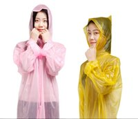 Wholesale Plastics Thickened Non Disposable Raincoat Outdoor Tourist Raincoat Travel Tour Camping Hiking Rain Cover Detachable Non Disposable Raincoat
