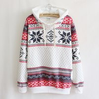 Wholesale autumn and winter snowflake pattern thick warm girl hooded Sweatshirts