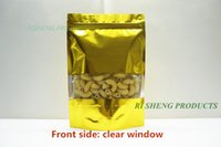 aluminium window locks - 12x20cm x Golden Stand up aluminium foil zip Lock bag with clear window Metallic Aluminized plastic pouch zipper reclosable