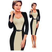 Wholesale Womens Elegant Colorblock Contrast Sheath Dresses Office Ladies Wear To Work Business Casual Party Pencil Dress Knee length