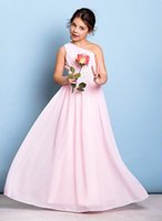 Wholesale Chiffon Flowers Junior Bridesmaid Dress - New Hot Sale One shouledr Ruffles beading sashes A line pink Long Length Chiffon Flower Girl Dresses Junior Bridesmaid Dresses