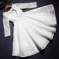 beauty stock photos - Beauty White Scoop Long Sleeves Heart Back Lace Asymmetrical In Stock Flower Girl Dresses Size SF811004