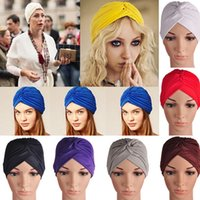 Wholesale Turbante Headwrap Gorros Turbantes Mujer Cappelli Turbante Indian Turban Hat Headband Wrap Cap Cloche Bandanas Women s hats