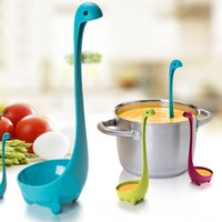 Wholesale Cute Nessie Long Handle Dinosaur Colander Monster Nonstick Nylon Strainer Spoon Large Scoop Kitchen Cooking Tool