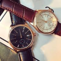 alloy replicas - New Men Watch Luxury Replicas watches Calendar Round Calibration Dial Genuine Leather Strap Quartz Wristwatch for Men