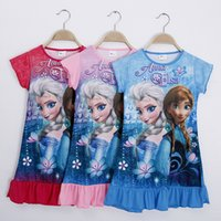 Wholesale Summer Girls Dresses Elsa Anna Cinderella Kids Pajamas Polyester Nightgowns Sleepwear Clothes T