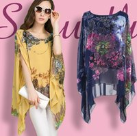 Wholesale Plus Size European Summer Chiffon Shirt Top Blouse Women Fashion Casual Patchwork Slim bat sleeve Shirts XL XL