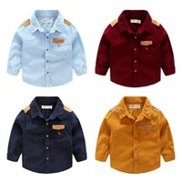Wholesale 2016 Fall New fashion baby boys clothes Long sleeve corduroy shirts Appique splice shirts for toddler Kids Tops boys T T T T