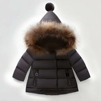 Wholesale 2016 Winter Witch Hats Coat Warm Thickness Hoddies White Black Newborn to Toddler Kids Outwear Down Coat