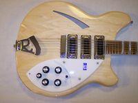venda por atacado electric mop-Roger McGuinn limitado RIC 370 12 cordas Semi-acústica guitarra elétrica Nature Finish, Triângulo Branco MOP Fingerboard Inlay 3 Pickups