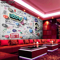 Wholesale 3d musical note pattern personalized wallpaper background wallpaper bedroom living room creative custom mold mural wall covering