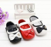 Wholesale Girls Bow baby shoes New Bowknot PU Princess Shoes Cute Spring Toddler Fashion First Shoes soft soled Prewalker