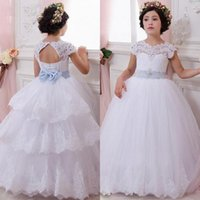 attach bead cap - Gorgeous Princess Flower Girls Dresses for Weddings Puffy Sheer Neck Cap Sleeves Beaded Lace Appliques Sash Bow Attached Tiered Train