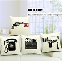 artist images - quot Life is a play quot Phone Gun Camera Film Young Artist Pistol Office Holding Vintage Black White Printing Cushion Pure Pillow Cases Image Cover