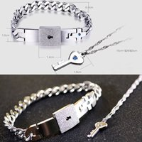Wholesale Couple Titanium Steel Man Bangle Bracelet and Women Key Pendant Necklace Sets Love Gifts Summer Style Hot