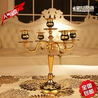 black candelabra - The new shipping senior black rubber Candlestick drop gold plated metal candlestick Hotel decor Home Furnishing creative style