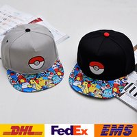 Wholesale Poke Go Pikachu Hats Hip Hop Cap Women Men Cartoon Hockey Basketball Ball Caps Unisex Visor Tourism Hat XMAS Halloween Gifts WX H56