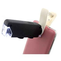 Wholesale 60X to X Zoom LED Microscope Magnifier Micro Mobile Phone Lens Camera with Universal Clip For iPhone Samsung HTC Huawei