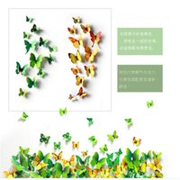 Wholesale Fresh yellow and green three dimensional butterfly wall stickers refrigerator stickers outdoor and indoor decoration