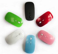 Wholesale 2017 Ultra Thin USB Optical Wireless Mouse G Receiver Super Slim Mouse For Computer PC Laptop Desktop Candy color