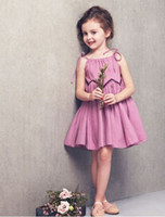Wholesale eden1 Summer children s wear sundresses girls cotton stitching pleated chiffon dress purple princess dress yxx