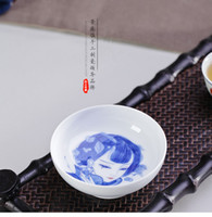 Wholesale Hand painted China Kung fu Tea Cup Jingdezhen Ceramic Cup Blue and White Porcelain Four Beauties Small Teaware