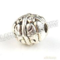 Wholesale 150pcs Round Antique Silver Tone Straight Hole Beads Fit Necklace amp Bracelet Making bracelet necklace bracelet bead