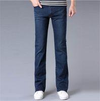bell bottom pants pattern - High Quality New Men s Jeans Slim Bell bottom Bootcut Pants Mens Elastic Nostalgic Blue Black Denim Flared Trousers