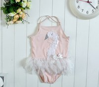beach babies swimwear - HOT Swan Mesh baby girl swimsuit lace girls swimwear princess pink beach girls bathing suit kids swim suit girl swimming wear