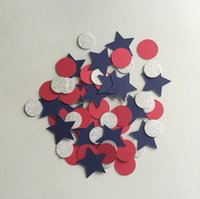 bbq table decorations - Table Confetti Red White and Blue th of July Party Decor Navy Summer BBQ Decorations Round Circles and Stars Double Sided Silver Glitter