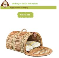 bicycle wicker baskets - Wicker Pet Baskets Willow Dog baskets Handmade With Handle Easy Clean For Birds Cat Pets House With Pet