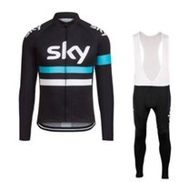 bib tights - 2016 Sky Winter Cycling Jerseys Long Sleeve Winter Thermal Fleece Cycling Clothing Sky Tight Bib Pants Men Winter Warm Inverno Bike Clothes