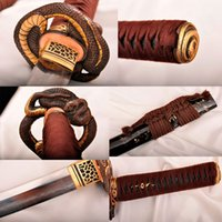 ancient japanese samurai - Handmade Casting katana Japanese Samurai Sword T10 steel Ancient forging process Retro fitting Snake Painted wood Copper