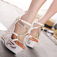 achat en gros de hautes chaussures de coin sexy-Summer New Style Mesdames strass Cutout sandales à talons hauts plateforme Sexy Pumps chaussures sandales romaines femmes habillées