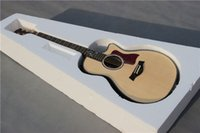 Wholesale Nature wood acoustic guitar Ebony Fret AA grade solid spruce Abalone Body Acoustic electric guitar free gift