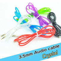 Wholesale 3 mm jack crystal AUX Audio usb cable Cables Male To Male Stereo Car Extension Audio Cable For MP3 smart phone