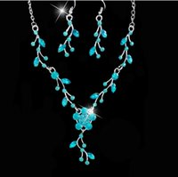 act pieces - Alloy necklace earrings leaves two piece suit deserve to act the role of suit necklaces pendants set zircon the bride fashion jewelry