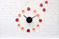 Wholesale Creative cartoon Watches bug flowers wall clock mute children fairy tale world fashion pastoral DIY Beetle sticker watch decor