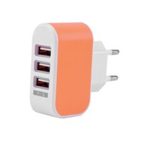 Wholesale EU Plug For Smart Phones A Port Triple USB Wall Adapter Charger