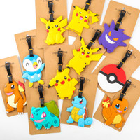 Wholesale New Styles Poke Silicone Luggage Tag Pikachu Squirtle Charmander Travel Suitcase Tag Cute Cartoon B0543