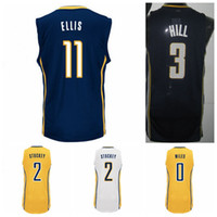 Wholesale High Quality George Hill Jersey Tyler Hansbrough Shirt C J CJ Miles Monta Ellis Rodney Stuckey Fashion Yellow Navy Blue White