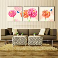 al por mayor fotos definición-3 Panel Moderno Moderno Flor y Pintura de Lona de Mariposa Cuadros Imagen de Pared para Sala de Impresión de Alta Definición