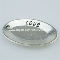 antique silver dishes - 14273 Alloy Antique Silver Vintage Dish Plate Words Love Pendant Jewelry