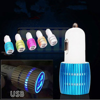 apple car adaptor - For iPhone car charger New Double USB Car Charger blue light LED Car Charger universal dual usb Contrast Color Adaptor DHL Free CAB123
